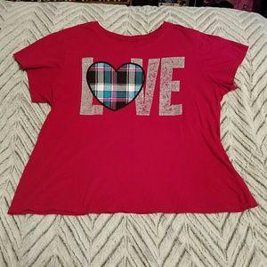 LOVE Plaid Heart Tee Shirt